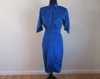 Vintage Absolute Stunning Royal Blue Dress - Size 12