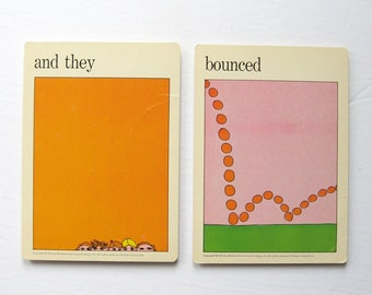 and they bounced - Vintage MOMA Art Cards - Party People Print Urban Wall Decor Typography Art - Museum of Modern Art Mid Century Modern Art