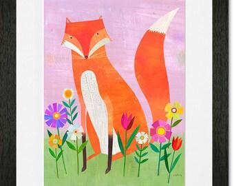 Fox in Flowers, Framed Art Print, Perfect for Girl's Room or Nursery