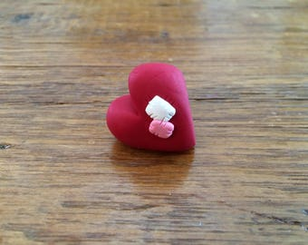 Polymer Clay Chunky Red Valentine Heart