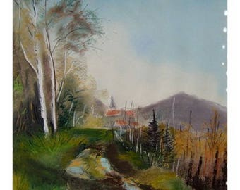 Tableau in pastel of a countryside landscape