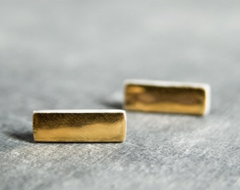 Gold stud earrings, gold bar earrings, gold earrings, earrings handmade, two tone earrings, porcelain jewelry, post earrings,