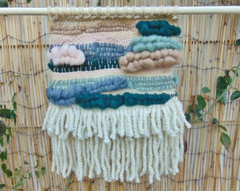 Handwoven Weaving Woven Wall Hanging - gray, pink, green hues with fringe