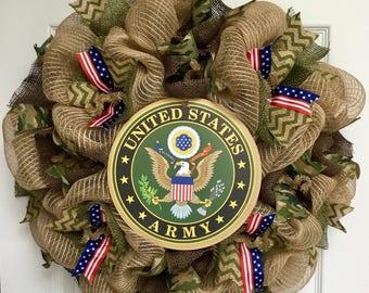 Army Strong Handmade Deco Mesh Burlap Wreath