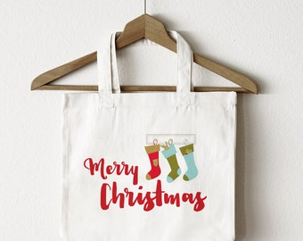 Holiday Tote Bag | Merry Christmas Stockings Tote Bag | Great Gift Idea | Canvas Tote Bag