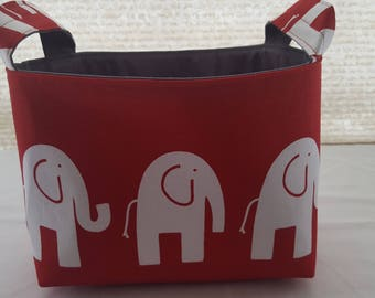 Storage Organizer Basket Bin Container Fabric - Red and White Ele Elephant - Choose your Lining Color