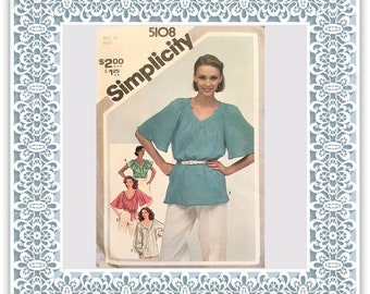 Simplicity 5108 (1981) Misses' pullover tunic or tops - Vintage Uncut Sewing Pattern