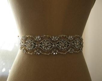 Sale, Gold Wedding Belt, Bridal Belt, Bridesmaid Belt, Sash Belt, Gold, Crystal Rhinestone & Pearl