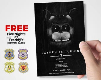 Five Nights At Freddy's Invitations - Party Birthday Supplies - Spooky Black and White Printable flyer Card- For Kids Boy Or Girl