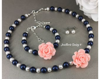 Pink Flower Girl Neckalce Set Navy Necklace Navy Bracelet Flower Girl Gift for Her Swarovski Necklace Pearl Necklace Girl Jewelry Wedding