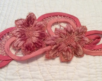 Vintage pink ribbon work appliqué