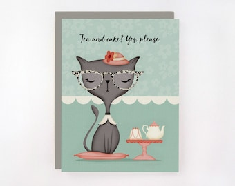 Tea and Cake? Yes, Please. - Cat Greeting Card
