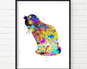 Cat Watercolor Art Print Wall Decor Home Decor  Instant Download Printable Digital Cat Art and Cat love animal art