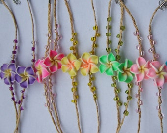 Tropical Jewelry/ Plumeria Anklet/ Plumeria friendship/ Plumeria Jewelry/Plumeria Anklet/ Polymer Plumeria Flower/ Beach Wear Jewelry