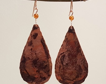 Copper Dangle Earrings - Hammered Copper Earrings - Copper Teardrop Earrings - Handmade Copper Earrings with Natural Amber