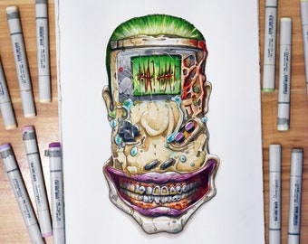 Gameboy, Joker Edition, a Copic markers original illustration (collection 2018)