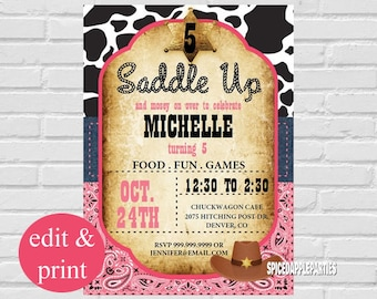 Cowgirl Birthday Party Invitation | Cowgirl Party Invitation, Cowgirl Invite, Western Invitation INSTANT DOWNLOAD