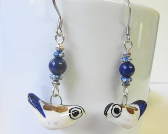 Blue Bird Earrings, Vintage Bird Earrings, China Birds, Whimsical Bird Jewelry, Bird Watcher Earrings, Nature Earrings