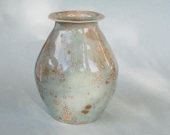 Crystalline pottery vase, crystalline glazed porcelain vase, blue vase for flower, home decor, ceramic vase with brown crystals,unique vase.