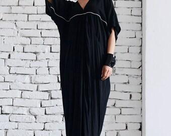 Maxi Black Dress/Long Plus Size Dress/Short Sleeve Black Kaftan/Party Black Dress/White Line Black Dress/Casual Loose Dress/Plus Size Tunic