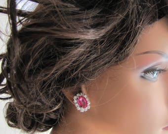 Super sparkling fuchsia pink rhinestone stud earrings, large rectangle shaped pink crystal surrounded with diamond look-alike rhinestones
