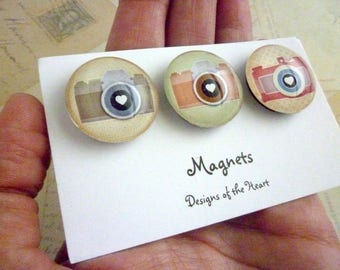Round Glass Magnet set - Camera Collection