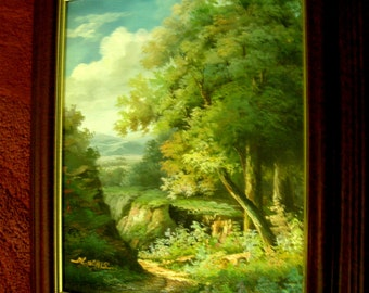 Original  Signed Landscape Oil Painting on Canvas, Framed - Marvelous view of mountains and a canyon
