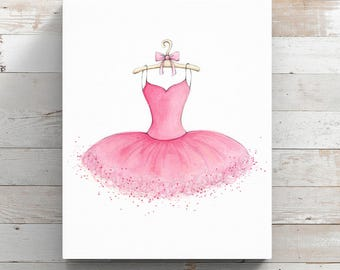 Tutu Canvas Print from original watercolor painting - Ballerina Tutu - Wrapped Canvas Print