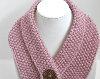 Pink Alpaca Collar with Wooden Button