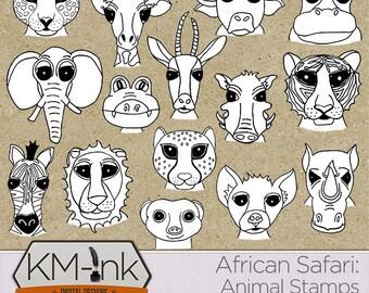 Digital Animal Stamp Doodles: African Safari Collection