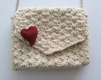 Beige Crochet Handbag/Clutch