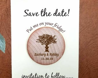 save the date magnet Wedding Wooden Save-the-Date Magnet, Tree Wood Magnet , custom save the date or Wedding favors your rustic magnets