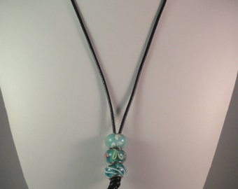 Black leather Cord and Lampworked Glass Beads Necklace