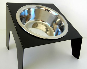 Slanted Metal Dog Bowl