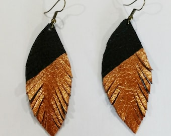 Black leather feather earrings with copper metallic asymmetrical design