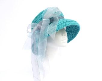 Audrey Hepburn Hat / Breakfast At Tiffany / Tiffany Hat / Turquoise / Kentucky Derby / Tea Party / Cloche Hat / Chanel Style / Derby Hat