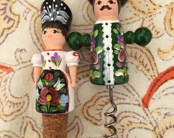 Hand Painted Couple Bar Set. Cork Screw Wine Topper