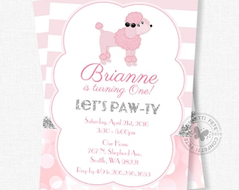 Pink Poodle Birthday Invitation, Chic French Party Invitation, Girl Birthday Invitation, Dog Party Invitation, Pink and Silver