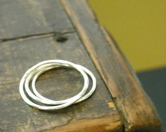 Three Everyday Stacking Rings or Knucklle Rings in Sterling- Free Shipping