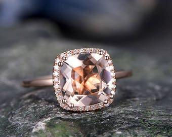 9mm Cushion Pink Morganite engagement ring-Solid 14k rose gold wedding ring-real diamond ring-morganite promise anniversary ring for her