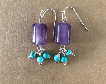 Amethyst and turquoise earrings