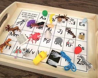 Letter Objects Matching, Beginning Sounds Recognition, Kids Gift, Montessori Classeoom, Reggio Emilia, Waldorf, Teacher Resources
