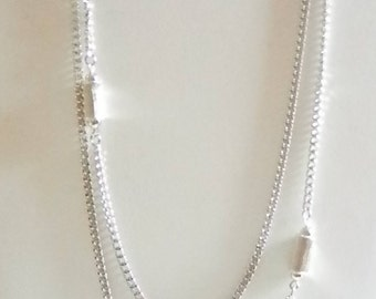MONET Long Silver Tone Chain Necklace