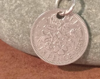 1963 Queen Elizabeth II British Sixpence Coin Keyring, English Coin Keychain. British Coin Key Ring, Lucky Sixpence