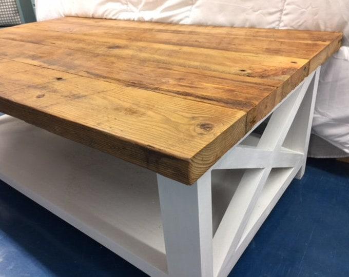 Barn wood reclaimed wood farmhouse coffee table coastal decor cottage renovation Outer Banks furniture BeachHouseDreams local PICKUP OBX