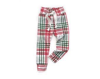 Ready to ship- Red and Green Plaid Joggers