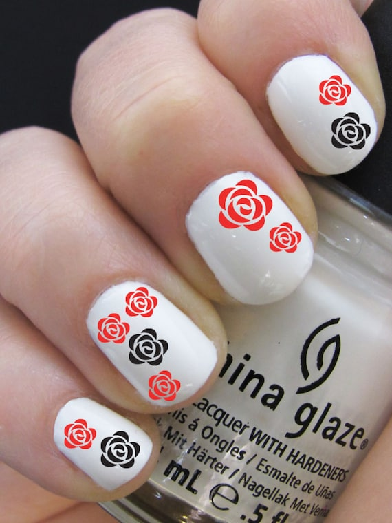 Flower Nail Decals - Rose Design - Water Nail Decal Nail Art from ...