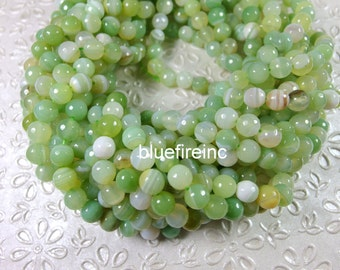 48 pcs facted Apple Green color round agate beads in 8mm
