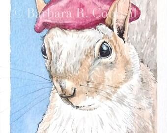 Raspberry Beret - original framed watercolor painting