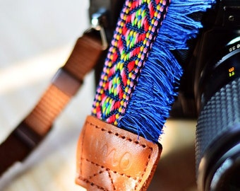 Blue Bohemian Camera Strap for DSLR / SLR Quick Release